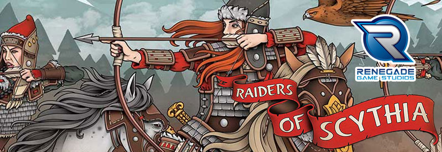 scythian warriors ride into battle in the raiders of scythia board game