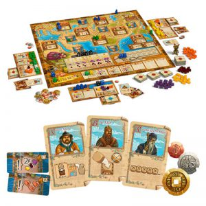 Marco Polo board game components, game board, cards, coins, and dice