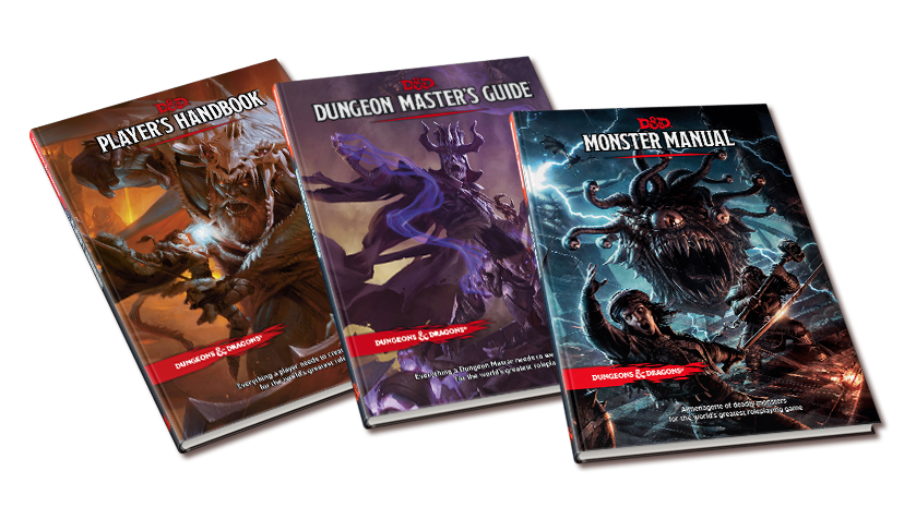 player's handbook, dungeon masters guide, monster manual