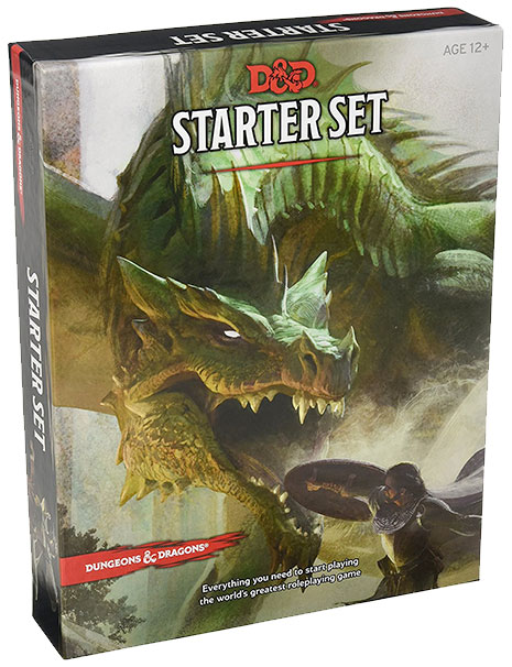 dungeons and dragon starter set box featuring a hero doing battle with a dragon
