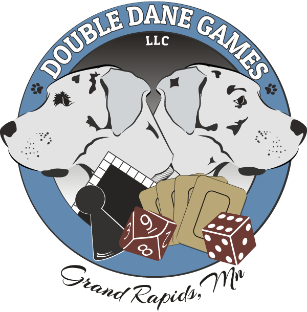 double dane games logo. great danes with board games, dice, and cards