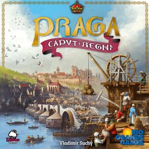 game box featuring a depiction of construction work in medieval Prague